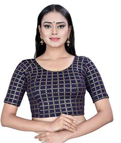 Cotton Lycra Fabric Half Sleeves with Lining Blouse for Womens (Color-Navy Blue)