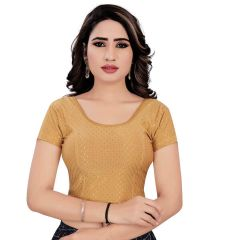 Stitched Lycra Saree Stretchable Jacquard Work Readymade Blouse for Women (Color:-Gold)
