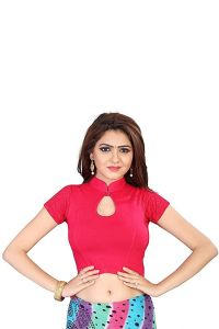 Stretchable Readymade Cotton Knitted Fabric Shot Sleeves Saree Blouse (Color:-Rani)