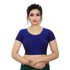 Stitched Lycra Saree Stretchable Jacquard Work Readymade Blouse for Women (Color:-RoyalBlue)