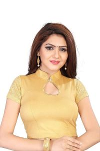 Stretchable Readymade Saree Blouse with 3|4 slevees Rufful degine for Womens (Color-Gold)