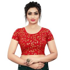 Printed Stretchable Readymade Lycra Fabric Half slevees Blouse for Womens (Color-Red)