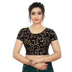 Printed Stretchable Readymade Lycra Fabric Half slevees Blouse for Womens (Color-Black)
