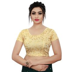 Printed Stretchable Readymade Lycra Fabric Half slevees Blouse for Womens (Color-Gold)