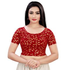 Printed Stretchable Readymade Lycra Fabric Half slevees Blouse for Womens (Color-Maroon)