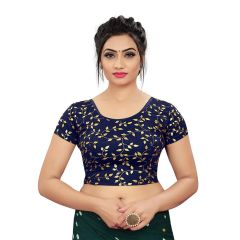 Printed Stretchable Readymade Lycra Fabric Half slevees Blouse for Womens (Color-NavyBlue)