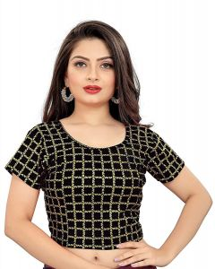 Stretchable Readymade Cotton Knitted Fabric Shot Sleeves with Lining Blouse for Womens