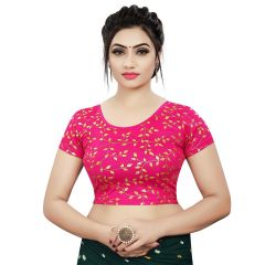 Printed Stretchable Readymade Lycra Fabric Half slevees Blouse for Womens (Color-Rani)