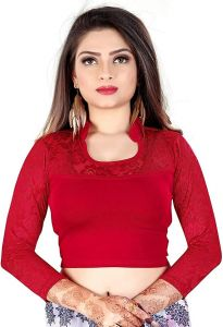 Cotton Lycra Fabric Jacquard Knitted Work Stretchable Blouse for Womens (Color:-Maroon)