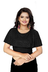 Cotton Lycra Fabric Round Neck Fancy Stretchable Blouse for Womens