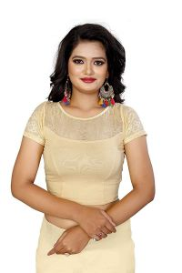 Womens Stretchable Readymade Cotton Fabric, 3|4 Sleeves, Saree Blouse