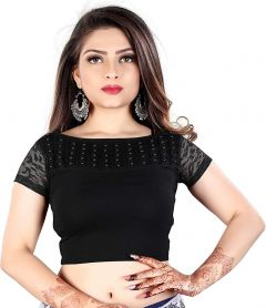 Cotton Lycra Fabric Jacquard Knitted Work Stretchable Blouse for Womens (Color:-Black)