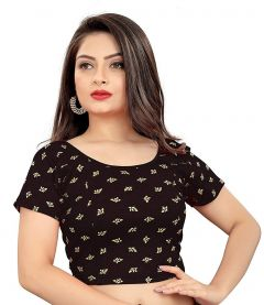 Cotton Lycra Fabric Jacquard Knitted Work Stretchable Blouse for Womens (Color:-Black & Yellow)