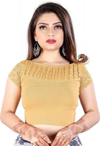 Cotton Lycra Fabric Jacquard Knitted Work Stretchable Blouse for Womens (Color:-Cream)