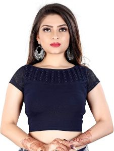 Cotton Lycra Fabric Jacquard Knitted Work Stretchable Blouse for Womens (Color:-NavyBlue)