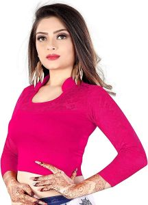 Cotton Lycra Fabric Jacquard Knitted Work Stretchable Blouse for Womens (Color:-Rani)
