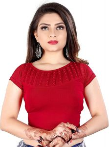 Cotton Lycra Fabric Jacquard Knitted Work Stretchable Blouse for Womens (Color:-Red)