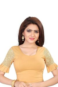Stretchable Cotton Knitted Fabric Shot Sleeves with Lining Blouse for Womens (Color-Gold)