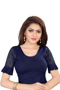 Stretchable Cotton Lycra Fabric Shot Sleeves with Lining Blouse for Womens (Color-Navy Blue)