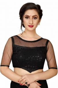 Women Blouse, Sequence Work Stitched Blouse Silk Fabric Net Half Sleeves (Pack of 1)