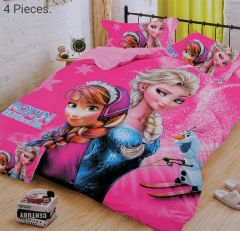 FABRIC EMPIRE Cotton Frozen Printed Kids Version Comforter Set With 1 Double Bedsheet and 2 Pillow Covers