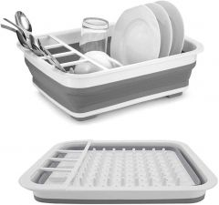 Homeoculture Vegetable Fruit Wash and Drain Sink Storage Basket, Collapsible Cutting Board Dish Tub (Dish Drainer Drying Rack)