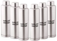 Nirlon Stainless Steel Cold Gym Water Bottle 1000Ml Ideal for Travelling, Outing (Pack of 6)