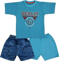 SHAURYA INNOVATION Polycotton Printed T-Shirt and Pant Set For Boy's (Blue) (Combo Pack)