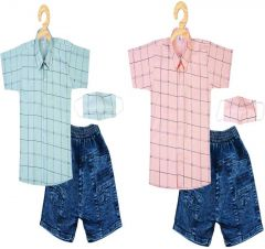 SHAURYA INNOVATION Cotton Printed Shirt and JeansSet With Mask For Boy's (Combo Pack)