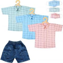 SHAURYA INNOVATION Cotton Solid Shirt and Jeans Set With Mask For Boy's (Multi-color) (Combo Pack)