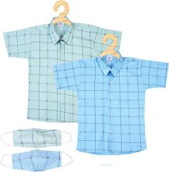 SHAURYA INNOVATION Regular Fit Checked Cotton Shirt With Mask For Boy's (Multi-color) (Pack of 2)