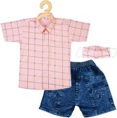 SHAURYA INNOVATION Cotton Solid Shirt and Jeans Set With Mask For Boy's (Combo Pack)