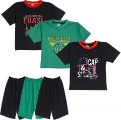 SHAURYA INNOVATION Cotton Printed T-Shirt and Pant Set For Boy's (Multi-Color) (Combo Pack of 3)