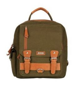 ASPENLEATHER Genuine Canvas Leather Travel Bag (Green)