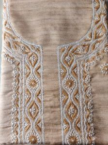 WACA Elegant, Stylish & Fashionable Unstitched Khadi Silk Noori Kurta Piece with Chikankari Embroidery for Women (Pack of 1) | (Color: Brown)