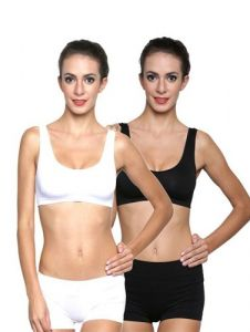 G.P Daisy Black White Medium Support Sports Bra Sets