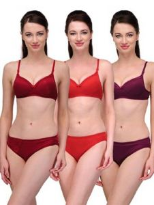 G.P Daisy Elegant Solid Color Soft and Breathable Bra Sets (Pack of 3)
