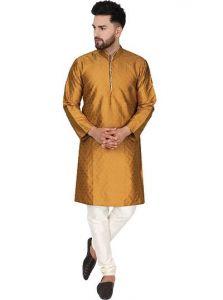 Eye-Catching Dupion Art Silk Solid Full Sleeves Kurta & Pyjama Set