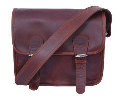 Celtic Buff Crazy Leather Satchel Bag (Brown) | Pack of 1