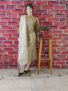 Cawa Stylish & Trendy Full Sleeves Unstitched Khadi Silk Suit Piece With Chikankari Embroidery for Women's (Pack of 1) | (Color: Brown)