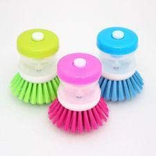 Pick 'N' Save House Kitchen Utilities and Dish/Washbasin Plastic Cleaning Brush with Liquid Soap Dispenser Ideal for Kitchen (Set of 3, Random Color Available As Per Availability)