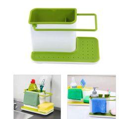 VelVeeta 3 In 1 Plastic Sink Caddy Organizer Kitchen Soap/Sponge/Cloth and Brush Holder Accessories Ideal for Kitchen (Medium Size) (White and Green)