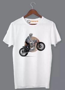 Frndmart Stylish & Fashionable Bullet Man Round Neck Printed T-Shirt For Men's (White)