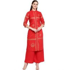 Womens Rayon Fabric, Stitched Straight3|4 Sleeves Kurta with Printed Palazzo (Color:-Red)