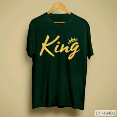 King Graphic Printed Poly Cotton Round Neck Half Sleeves T-Shirt For Men's