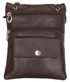 ASPENLEATHER Handcrafted Genuine Leather Cross Body Bag - Brown