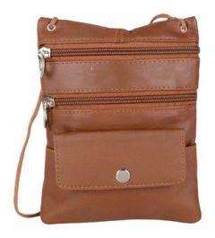 ASPENLEATHER Tan Genuine Leather Cross Body Bag