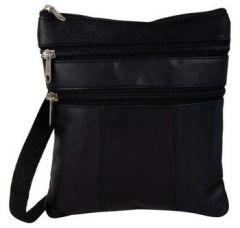 Splash USA Black Genuine Leather Cross Body Bag