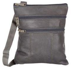ASPENLEATHER Grey Genuine Leather Cross Body Bag