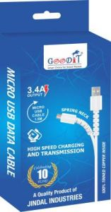 Goodit Spring Neck Micro USB Data Cable 3.4A Length of 1.5m Suitable for iPhone 5/6/7/8/X (White) (Pack of 1)